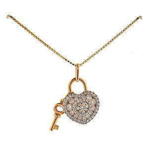 Memoire 18k Gold Diamond Heart Pendant Necklace