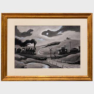 Thomas Hart Benton (1889-1975): Night Encounter of Two Trains