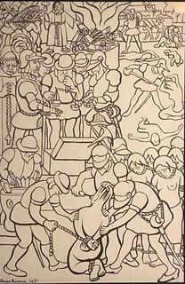 Diego Rivera, Los abusos de los conquistadores,
