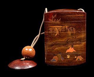 A Polychrome, Gold and Black Lacquer Four-Case Inro