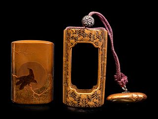 A Gold and Black Lacquer Inro Case and A Brass Cigarette Case