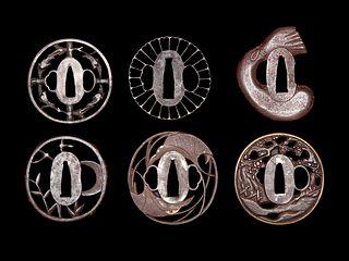 Six Cast Iron Tsuba