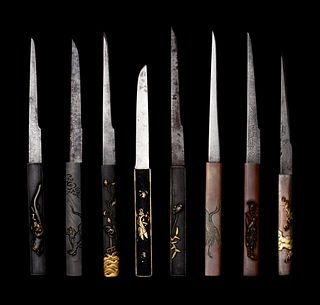 Eight Mixed Metal Kozuka with Kogatana Blades