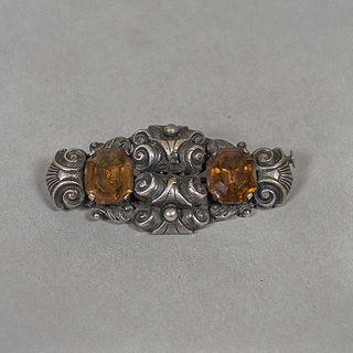 Prendedor estilo Art Decó con citrinas de metal plateado / Art Deco silver plate and citrines brooch