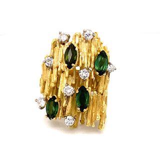1970s TISHMAN & LEAP 18k Avant Garde Peridot Diamond Ring
