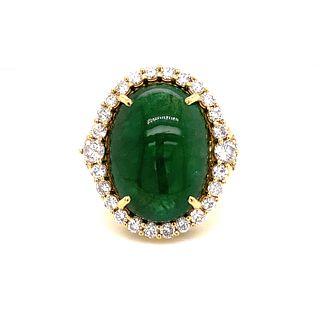 18k Diamond & Emerald Ring