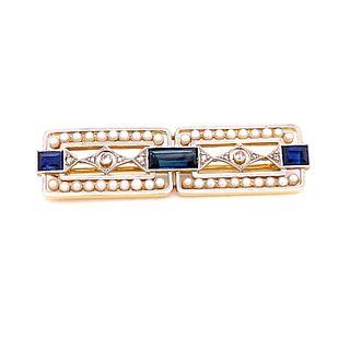 Platinum 18k Sapphire Pearl Diamond Broach