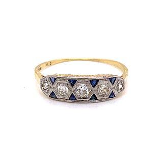 Art Deco 18k Sapphire Diamond Ring