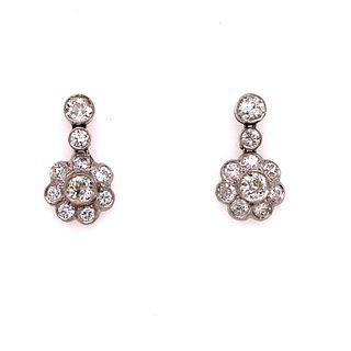 1920's Platinum Diamond Rosetta Earrings