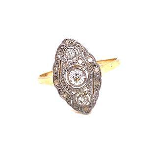 1920's 18k Platinum Diamond Ring