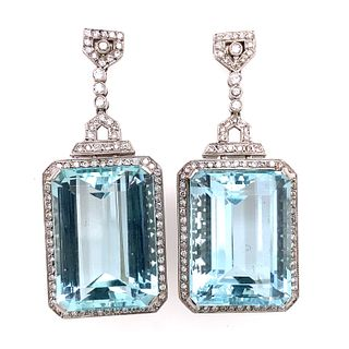Pierre Aqua Marine Platinum Diamond Earrings