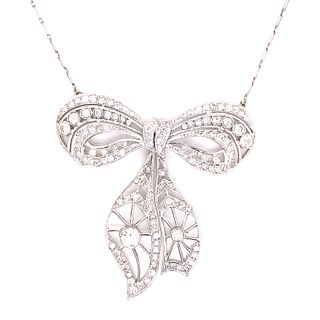 1920's Platinum Diamond Ribbon Necklace