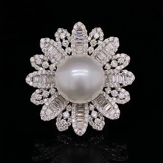 18k Flower Diamond South Sea Pearl Ring