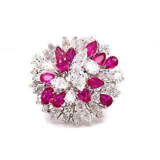 18k Diamond Ruby Cluster Ring