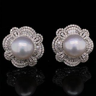 18k Diamond South Sea Pearl Earrings
