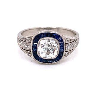 Platinum Sapphire Diamond Target Ring