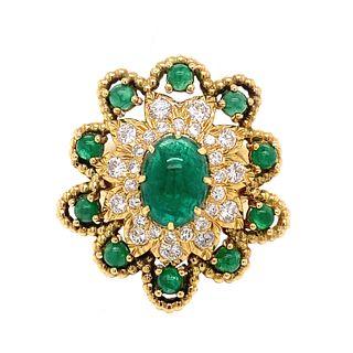 David Webb 18k Emerald Diamond Ring