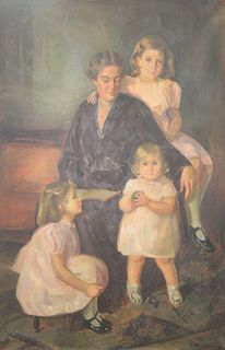 Gertrude McKim Whiting (American, 1898 - 1981), portrait of a mother and three daughters, oil on canvas, signed lower right: Gertrude Whiting, 62 1/4""