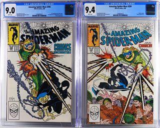 2 Marvel Amazing Spider-Man #298 #299 CGC 9.0 9.4