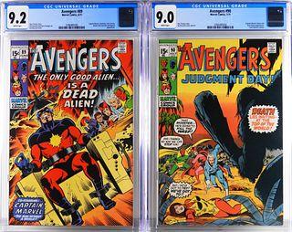 Marvel Comics Avengers #89 #90 CGC 9.2 9.0
