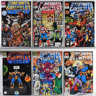 6PC Marvel Comics Infinity Gauntlet #1-6 Signed 3x