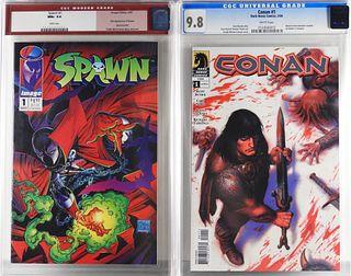 2PC Dark Horse Image Comics Spawn #1 Conan #1 CGC