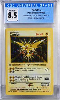 1999 Pokemon Base 1st Ed Zapdos Gray Stamp CGC 8.5