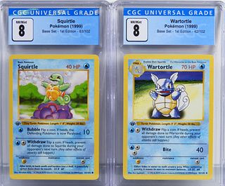 2PC Pokemon Base 1st Ed Squirtle Wartortle CGC 8