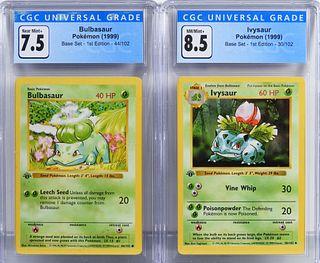 2PC Pokemon Base Set 1st Ed. Bulbasaur Ivysaur CGC