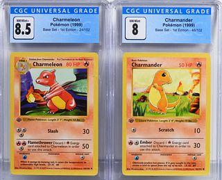 Pokemon Base Set 1st Ed Charmander Charmeleon CGC