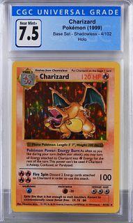 1999 Pokemon Base Shadowless Charizard CGC 7.5