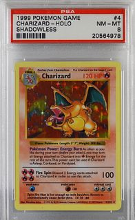 1999 Pokemon Base Shadowless Charizard PSA 8