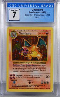 1999 Pokemon Base Shadowless Charizard CGC 7