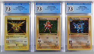 3PC 1999 Pokemon Base Shadowless Holo CGC Card Lot