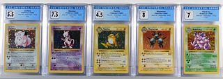 5PC 1999 Pokemon Base Shadowless CGC Holo Group