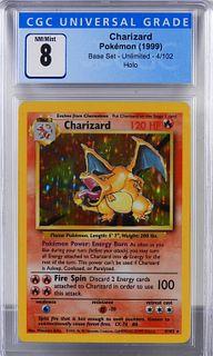 1999 Pokemon Base Unlimited Charizard CGC 8