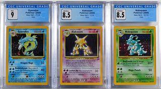 3PC 2000 Pokemon Base Set 2 Holo CGC Card Group