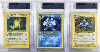 3 Pokemon Base Unl Raichu Magneton Poliwrath BGS 9