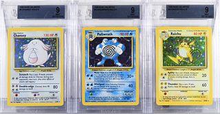 3 Pokemon Base Unl. Chansey Raichu Poliwrath BGS 9