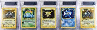 5 Pokemon Base Unlimited Holographic Card Group