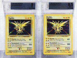 2PC 1999 Pokemon Base Unl. Zapdos BGS 9 8.5