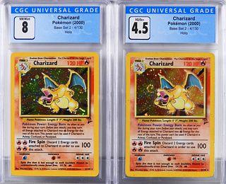 2PC Pokemon Base Set 2 Charizard CGC 8 4.5 Group