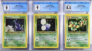 3PC Pokemon Neo Genesis Unl. Holo CGC Card Group