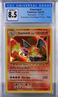 Pokemon Evolutions Charizard Staff Card CGC 8.5