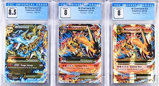 3 Pokemon Flashfire Evolutions M Charizard EX CGC