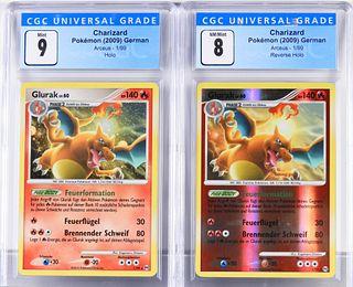 2PC 2009 German Pokemon Arceus Charizard CGC 9 8