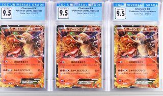 3PC Japanese Pokemon Starter Charizard EX CGC 9.5