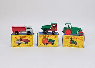 3 Lesney Matchbox Contruction Roller Truck Dumper