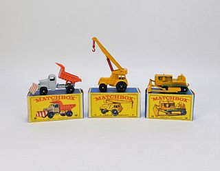 3PC Lesney Matchbox Crane Dozer Snow Truck Group