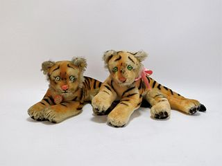 2PC Vintage Steiff Mohair Tiger Toy Group